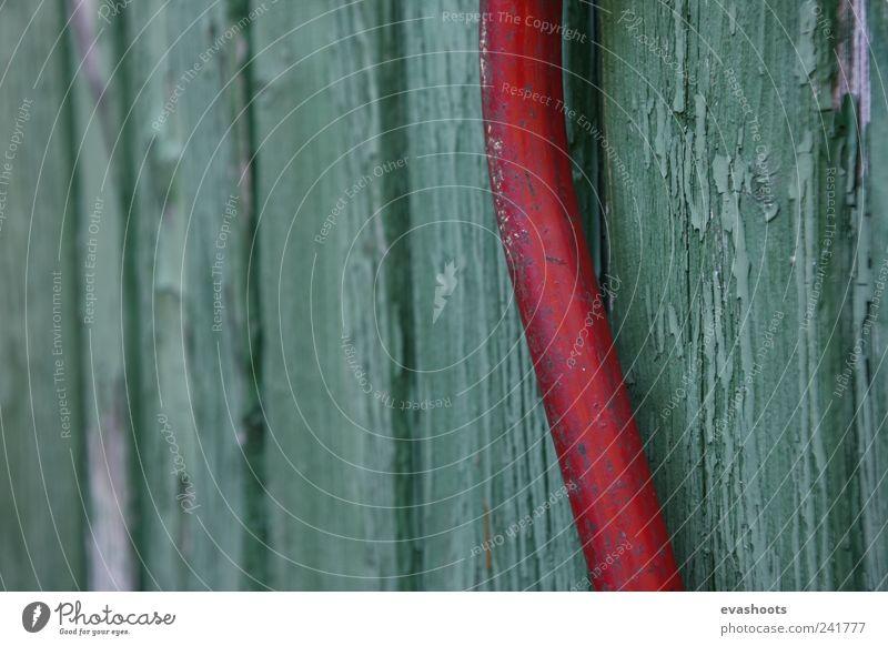 schrebergarten - old things - green loves red Old Beautiful Green Summer Red Environment Wood Garden Metal Dirty Door Living or residing Esthetic Broken Romance