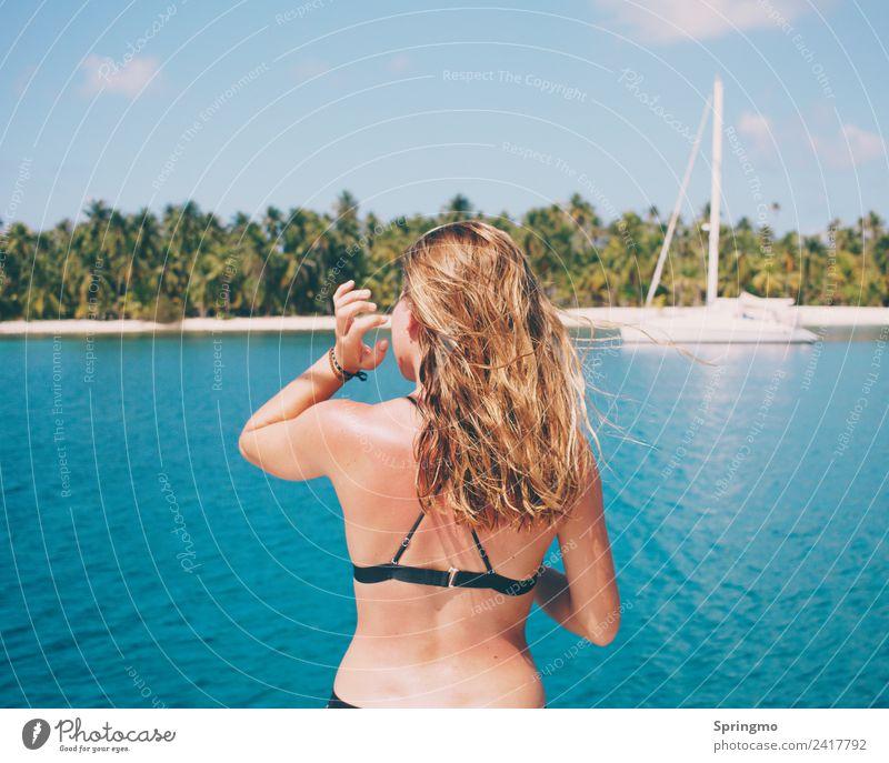 oceanAIR - saltyHAIR Happy Body Hair and hairstyles Vacation & Travel Far-off places Summer Sun Beach Ocean Island Sailing Human being Feminine Young woman