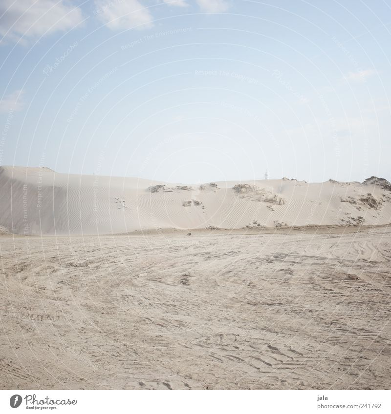 sand Sky Cloudless sky Hill Sand Infinity Bright Gloomy Dry Skid marks Colour photo Exterior shot Deserted Copy Space top Day