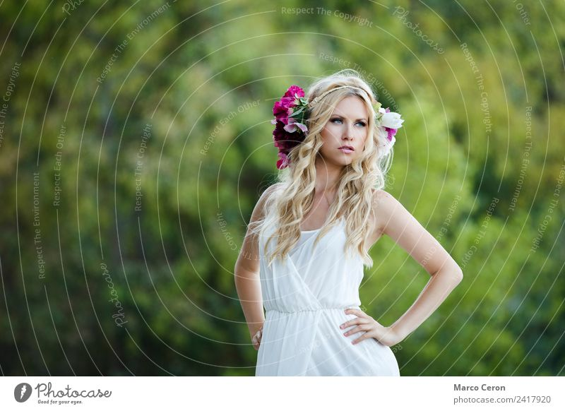 beautiful slavic bride with a blurry nature background Human being Nature Youth (Young adults) Young woman Summer Beautiful Green Eroticism Relaxation Calm