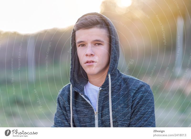 portrait of a attractive teenager standing Lifestyle Happy Schoolchild Academic studies PDA Human being Masculine Boy (child) Young man Youth (Young adults) Man