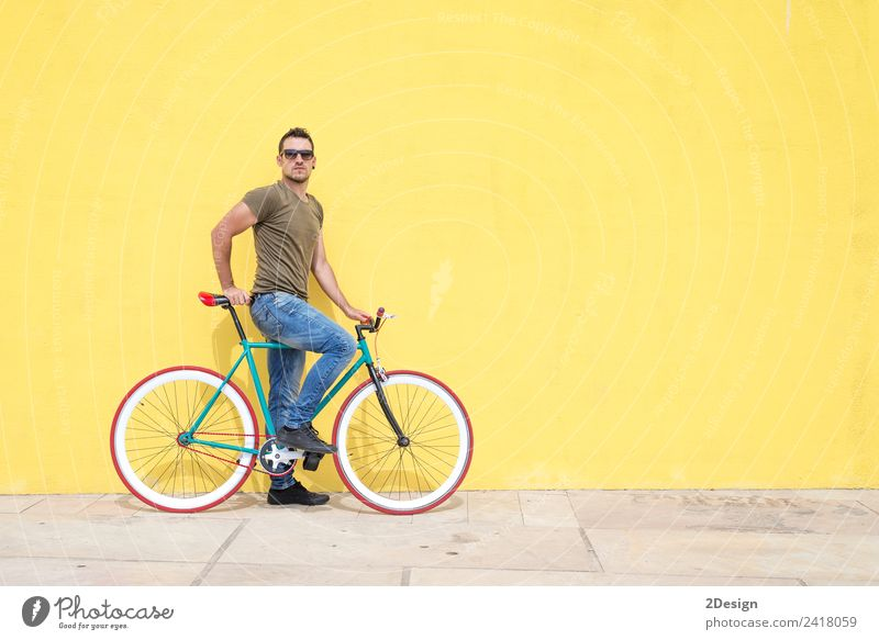 Man posing with his fixed gear bicycle wearing sunglasses Human being Vacation & Travel Youth (Young adults) Summer Town Young man Joy 18 - 30 years Street