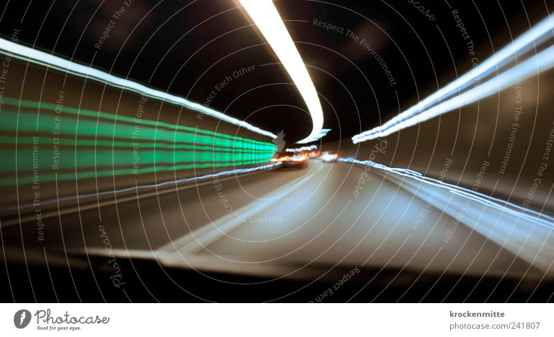 Green Street Gray Car Line Road traffic Transport Speed Driving Stripe Highway Tunnel Traffic infrastructure Motoring Vehicle Passenger traffic