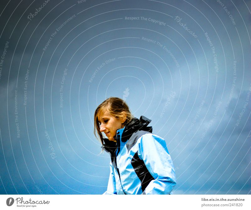 Human being Woman Youth (Young adults) Blue Vacation & Travel Summer Clouds Loneliness Adults Far-off places Freedom Head Hair and hairstyles Weather Hiking Trip