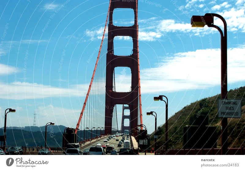 Large Bridge USA Steel Americas Landmark Section of image Partially visible Famousness California Pylon San Francisco Suspension bridge Golden Gate Bridge