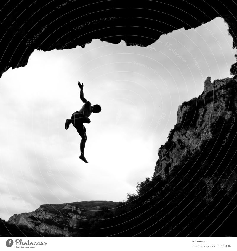 Human being Man Nature Youth (Young adults) Vacation & Travel Joy Clouds Adults Landscape Mountain Freedom Coast Jump Style Air Rock