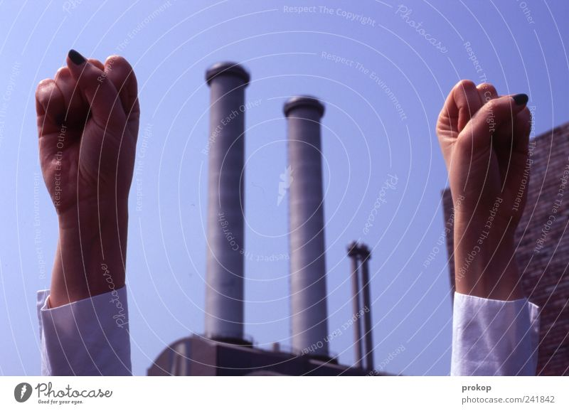Hand Business Power Large Energy Modern Success Growth Uniqueness Factory Anger Idea Passion Brave Positive Chimney