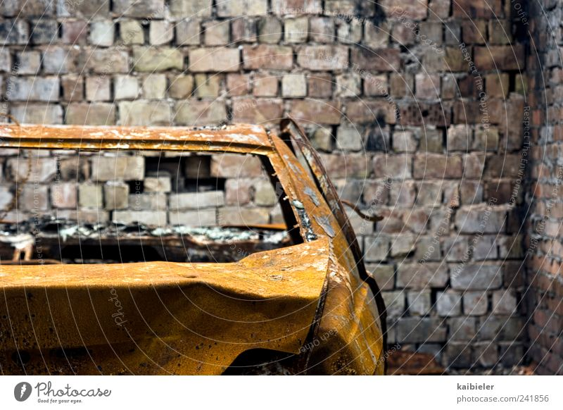 Old Blue Yellow Dark Wall (building) Wall (barrier) Car Brown Broken End Transience Rust Motoring Parking Garage Parking garage