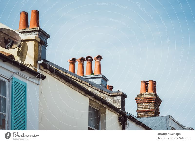 British chimneys Town Downtown Old town Populated House (Residential Structure) Detached house Roof Chimney Poverty Esthetic Brighton England Great Britain Red
