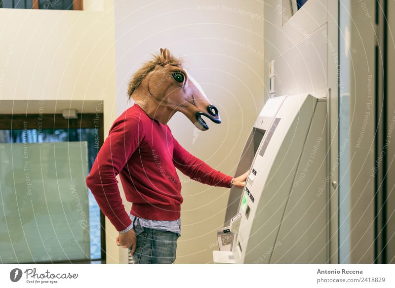 We need money Human being Youth (Young adults) Man 18 - 30 years Adults Crazy Money Mask Economy Costume Hallowe'en Horse's head