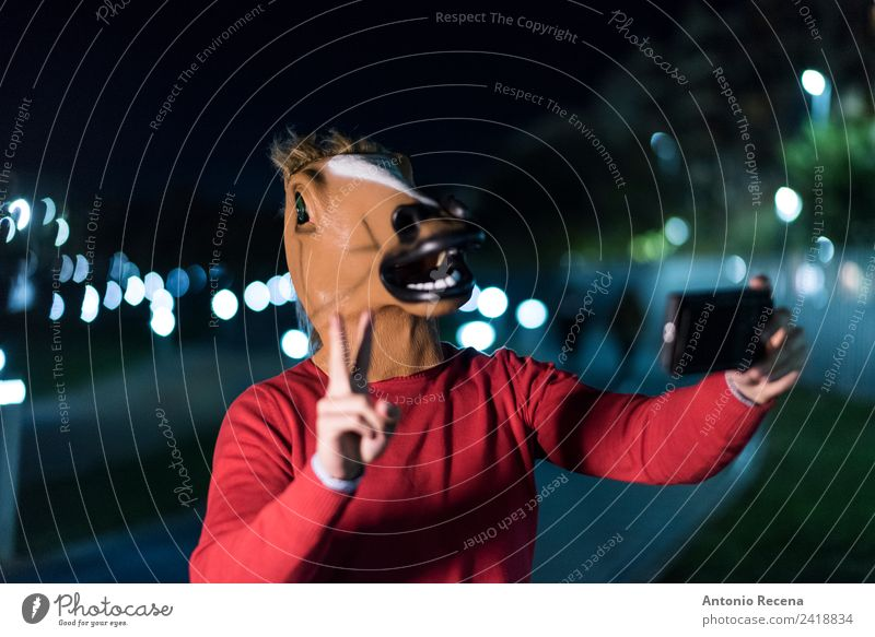 Horse man world Human being Man Adults 1 30 - 45 years Authentic Creepy Crazy Blur Horse's head Success Selfie PDA Funny Hallowe'en Costume Mask Rider horseface