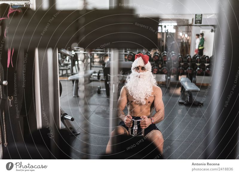 Santa is ready Diet Christmas & Advent Sports Human being Man Adults Railroad Hat Beard Fitness Athletic Thin Strong Red White christmas training Santa Claus