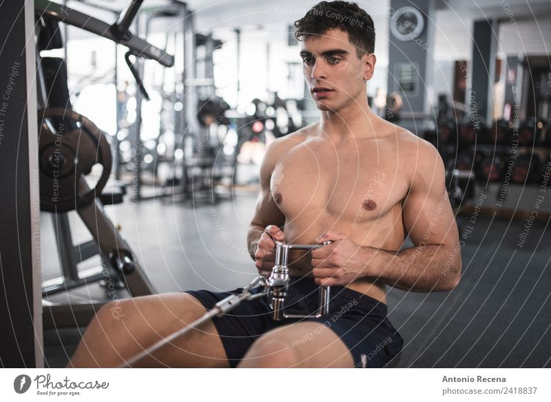 Fitness training Lifestyle Sports Sports Training Human being Man Adults 1 18 - 30 years Youth (Young adults) Railroad Athletic Thin Strong Rowing back dorsal