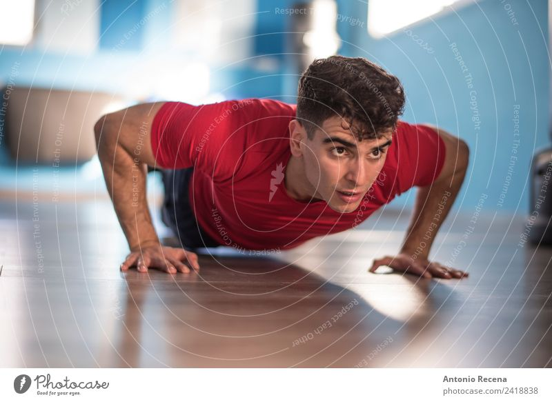 Push ups Diet Lifestyle Wellness Sports Man Adults Railroad Fitness Athletic Strong Effort 20-25 years old 20s 30s action athlete attractive fit Gymnasium