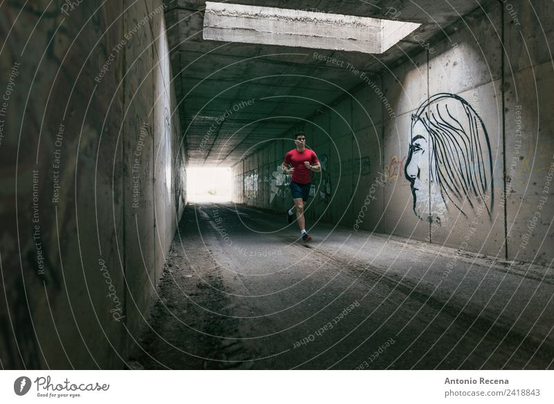 Runner man training in tunnel Sports Fitness Sports Training Sportsperson Jogging Human being Masculine Man Adults 1 18 - 30 years Youth (Young adults)