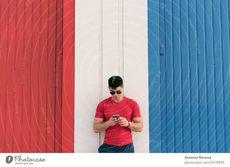 Color networking Human being Man Adults Touch Reading Telephone Athletic Brunette Sunglasses Interlaced Warehouse Guy Communication Industrial