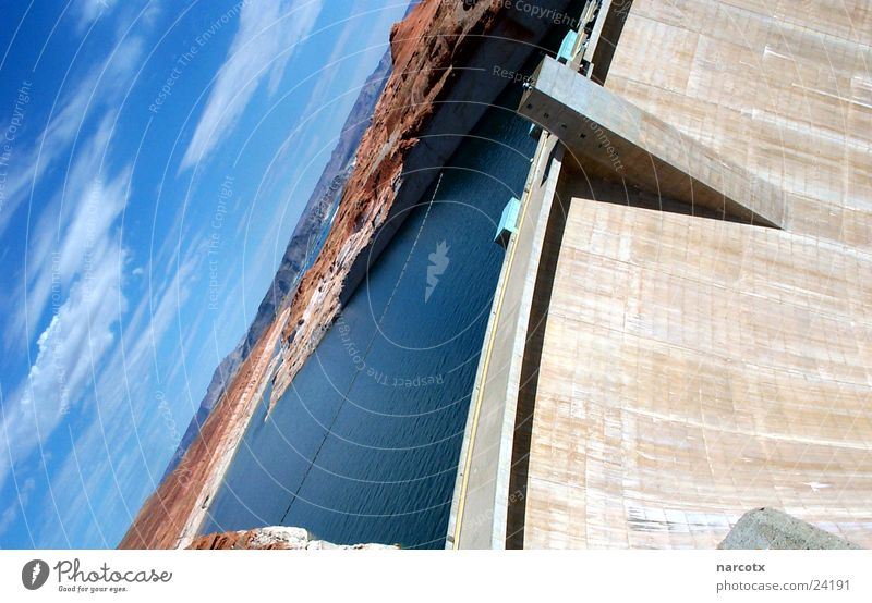 Water Wall (barrier) Lake USA Americas Canyon Dam Reservoir Retaining wall Powell River South West