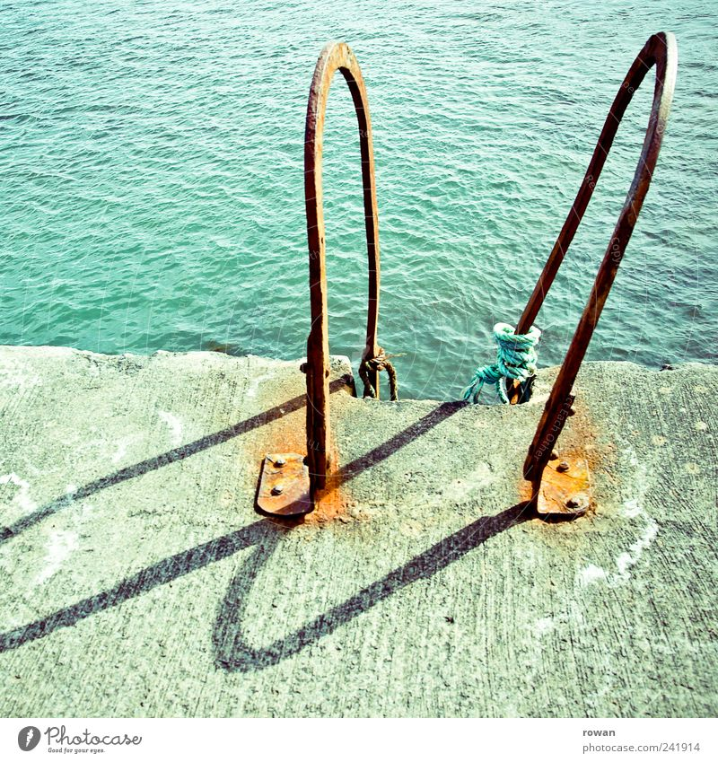 Water Old Ocean Summer Lake Coast Waves Concrete Swimming & Bathing Hot Rust Turquoise Lakeside Jetty Ladder Beautiful weather
