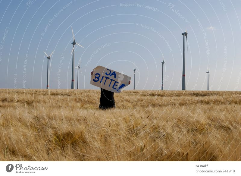 No, thank you? Energy industry Renewable energy Wind energy plant Energy crisis 1 Human being Environment Nature Landscape Summer Climate change Field Sign