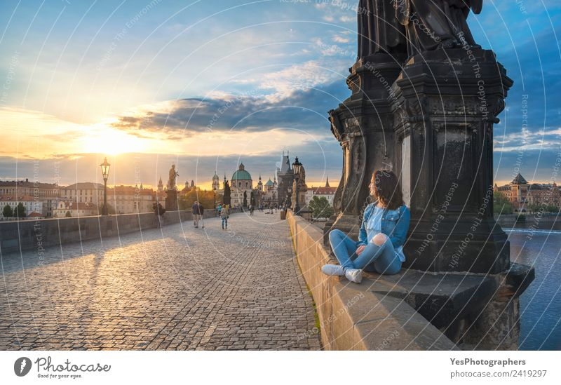 Girl watching the sunrise on Charles Bridge Lifestyle Beautiful Relaxation Vacation & Travel Summer Woman Adults Art Old town Architecture Tourist Attraction