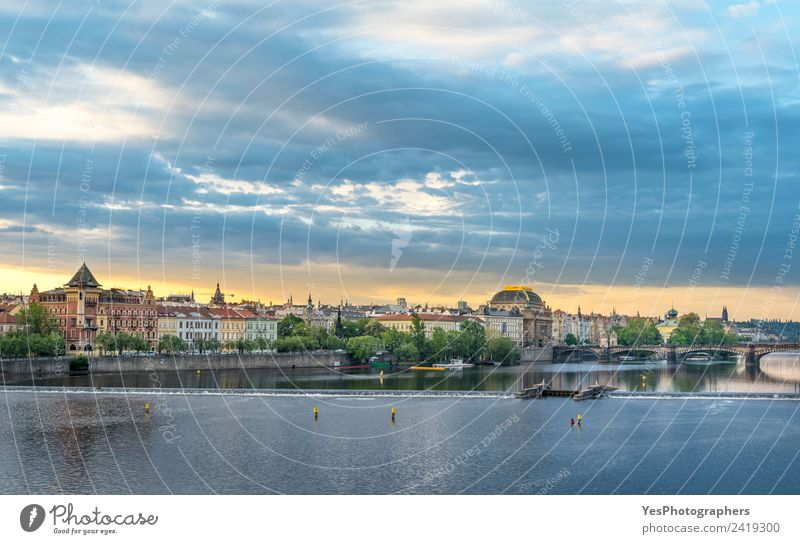 Vltava river and Prague City at sunrise Vacation & Travel Summer Town Beautiful Landscape Architecture Lifestyle Building Art Tourism Earth Gold Europe Bridge
