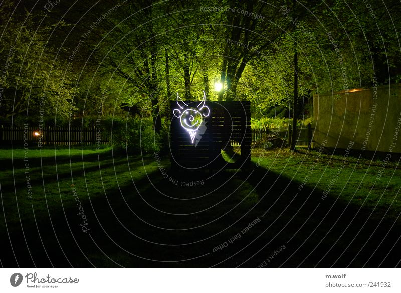 goal wall shooting Village Deserted Playground Graffiti Playing Creativity Art Surrealism Light painting Long exposure Facial expression Flashlight Green Lawn