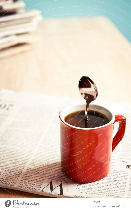 Red Black Funny Business Stand To enjoy Table Creativity Idea Coffee Strong Information Break Newspaper Whimsical Cup