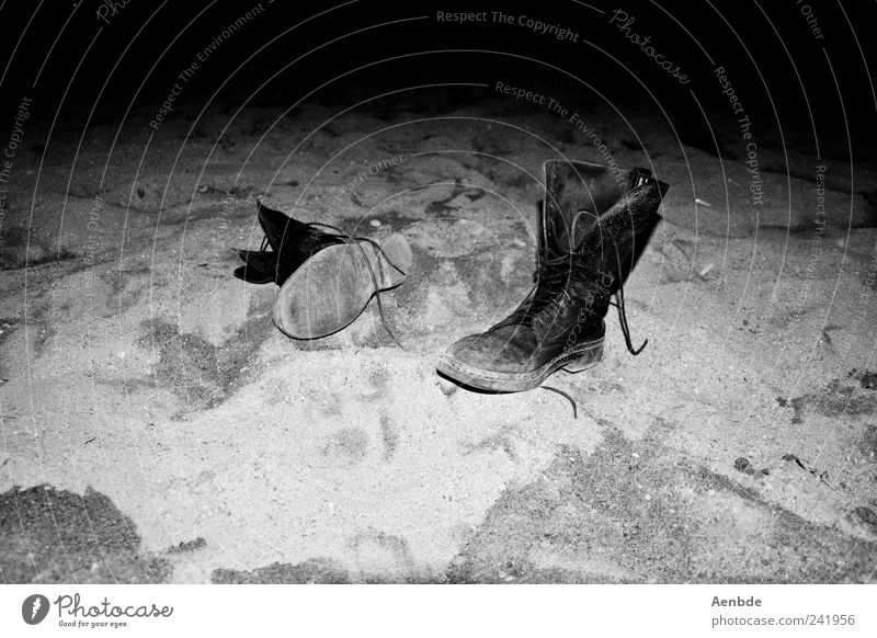 find Beach Authentic Footwear Boots Discovery Assigned Sand Contrast Leather shoes Black & white photo Deserted Night Artificial light Flash photo