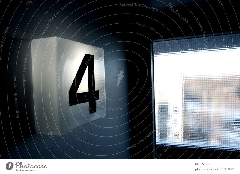 Lamp Dark Window Building Bright Lighting Door High-rise Digits and numbers 4 Story Typography Hallway Staircase (Hallway) Numbers