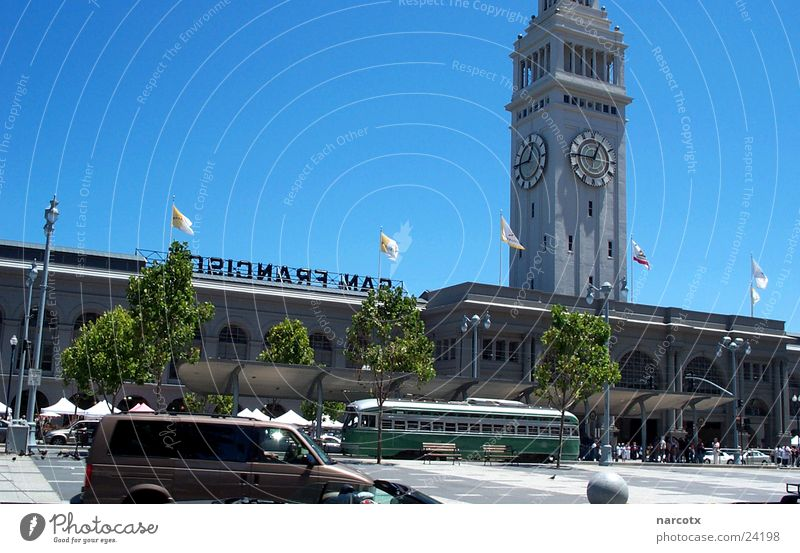 Clock Tower USA Harbour Americas Blue sky Section of image Partially visible Sky blue Cloudless sky San Francisco Church clock Clear sky