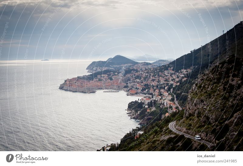 Dubrovnik in Croatia Vacation & Travel Tourism Trip Water Bad weather Storm Hill Rock Ocean Europe Town Outskirts Old town Deserted