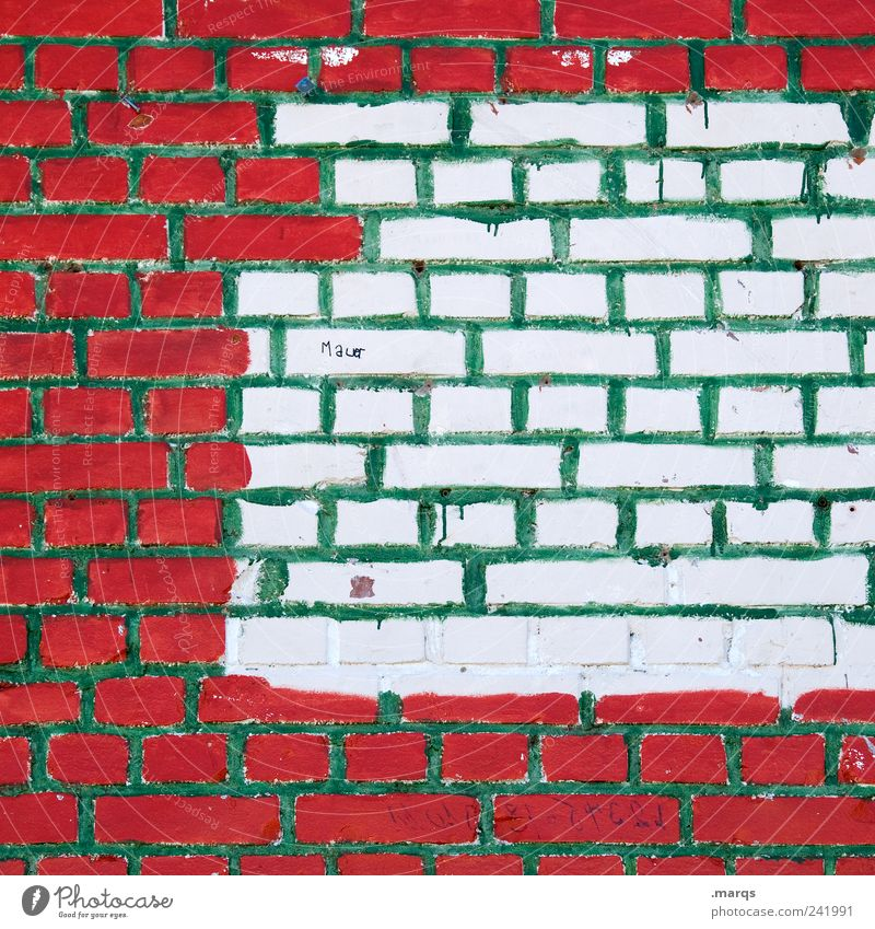 wall Construction site Manmade structures Wall (barrier) Wall (building) Characters Line Build Uniqueness Green Red White Colour Whimsical Border Colour photo