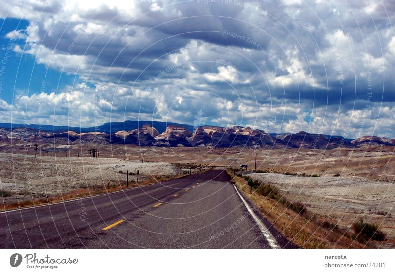 Clouds Loneliness Street Mountain Empty USA Americas Sparse Bad weather South West