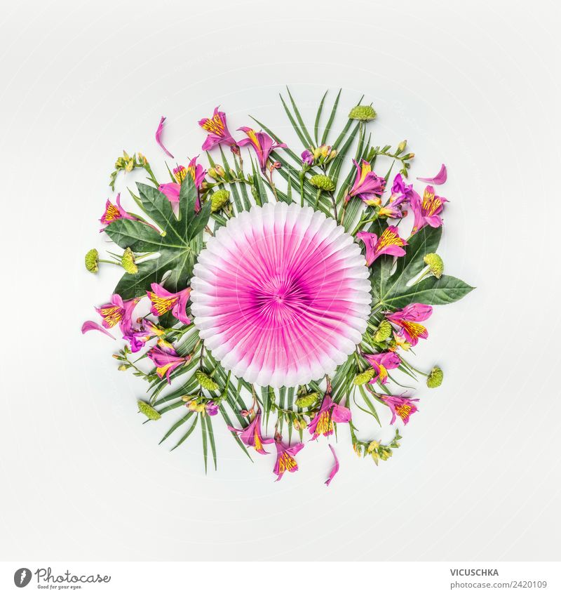 Summer. Tropical flowers and palm leaves composing. Style Design Exotic Vacation & Travel Party Nature Plant Flower Leaf Blossom Fashion Decoration Bouquet