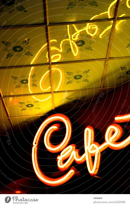 cafe Relaxation Decoration Going out Old Retro Café Neon sign Ceiling Reflection Advertising Colour photo Interior shot Deserted Day