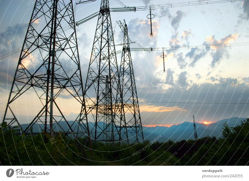 evening Energy industry Environment Nature Landscape Plant Sky Clouds Night sky Horizon Sunrise Sunset Summer Climate Beautiful weather Forest Mountain