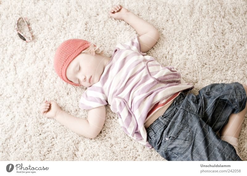 The day was long and wonderful.... Relaxation Calm Living or residing Flat (apartment) Carpet Parenting Kindergarten Human being Child Girl Infancy Life Arm 1