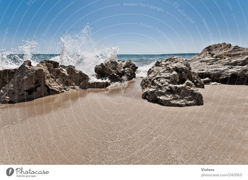 Nature Water Summer Beach Vacation & Travel Relaxation Stone Sand Coast Waves Drops of water Rock White crest Water fountain Algarve Vacation mood