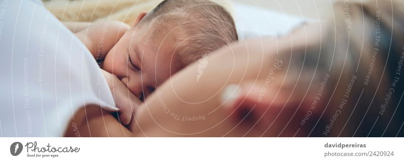 Newborn lying on the bed with her mother Lifestyle Beautiful Child Human being Baby Woman Adults Mother Family & Relations Love Sleep Embrace Authentic Small