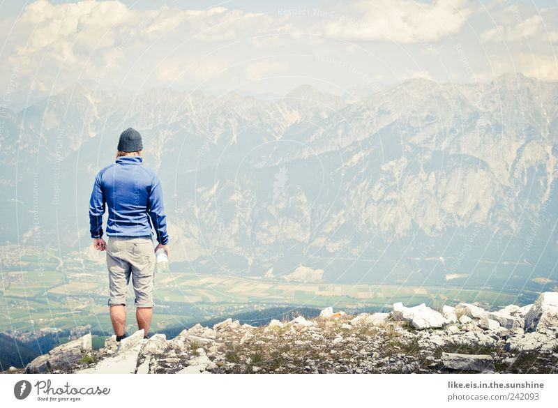 Human being Man Summer Adults Far-off places Landscape Mountain Contentment Power Rock Trip Hiking Masculine Adventure Success Target
