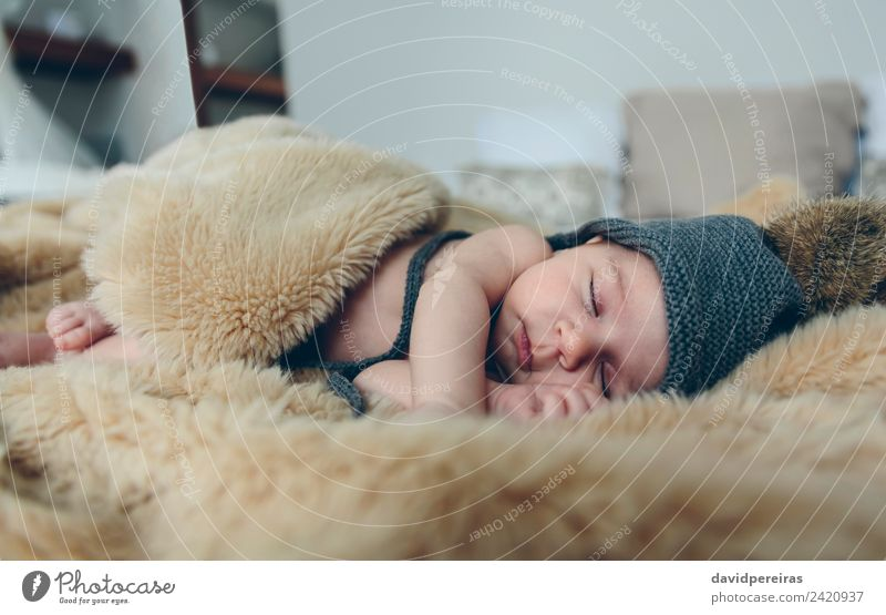 Baby girl with pompom hat sleeping Woman Child Human being Naked Beautiful Calm Adults Warmth Small Feet Authentic Cute Sleep Hat Home
