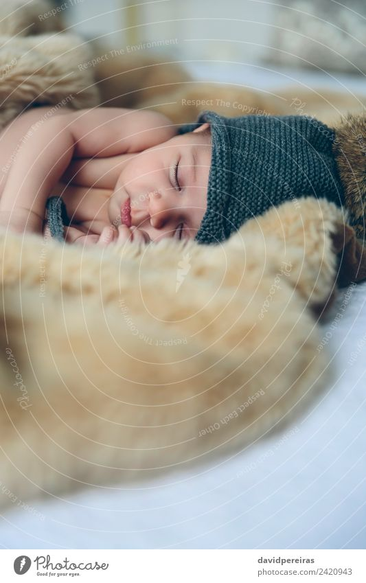 Baby girl with pompom hat sleeping Woman Child Human being Naked Beautiful Calm Adults Warmth Small Copy Space Authentic Cute Sleep Hat Home