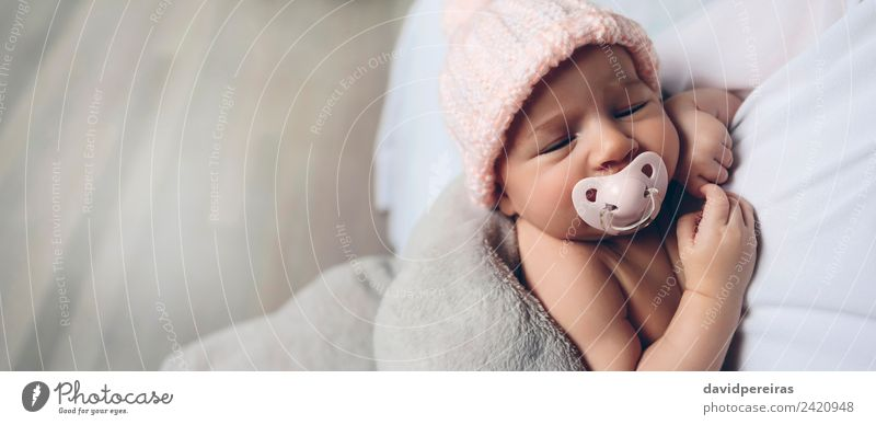 Baby girl with pacifier sleeping Woman Child Human being Beautiful Calm Face Adults Lifestyle Love Family & Relations Small Copy Space Pink Infancy Authentic