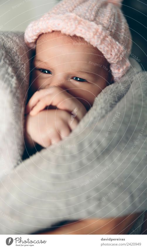 Baby girl wrapped in a blanket Woman Child Human being Beautiful Hand Relaxation Calm Adults Warmth Lifestyle Love Small Copy Space Pink Infancy