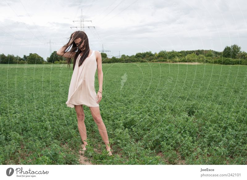 #242101 Style Woman Adults Nature Sky Clouds Field Dress Long-haired Relaxation To hold on Dream Sadness Free Infinity Uniqueness Natural Beautiful Concern