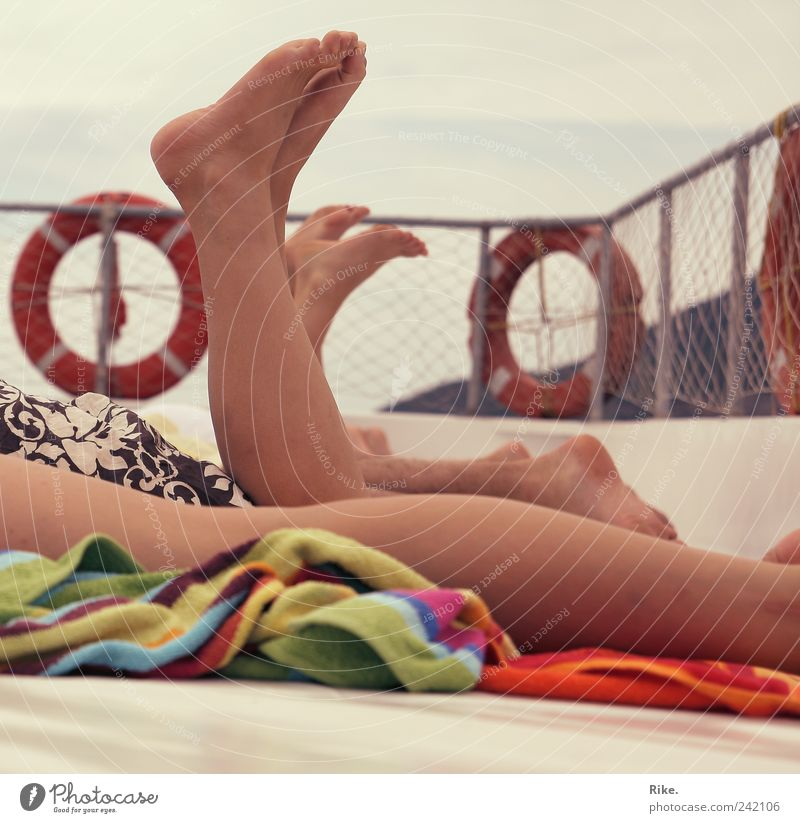 Summer feeling. Vacation & Travel Trip Cruise Summer vacation Sunbathing Human being Masculine Feminine Legs Feet 3 Navigation Boating trip Sailing ship