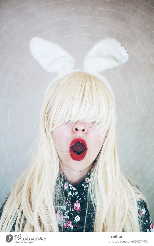 Young surprised woman who is wearing rabbit ears Design Exotic Hair and hairstyles Lipstick Party Carnival Easter Human being Feminine Young woman