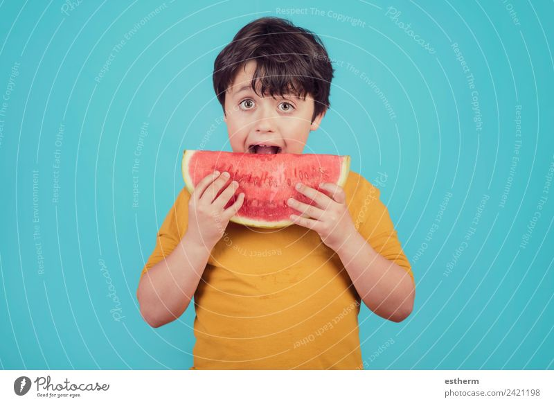 Happy child eats watermelon Child Human being Joy Eating Lifestyle Healthy Boy (child) Food Fruit Masculine Nutrition Infancy Smiling Curiosity To hold on