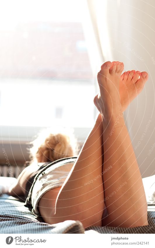 Human being Youth (Young adults) Beautiful Calm Relaxation Feminine Window Happy Style Adults Dream Legs Feet Contentment Blonde