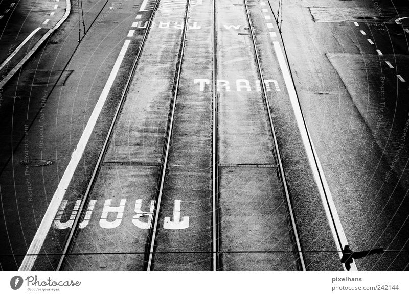 Old Water White Vacation & Travel Black Street Dark Metal Rain Dirty Concrete Transport Perspective Driving Railroad tracks Steel